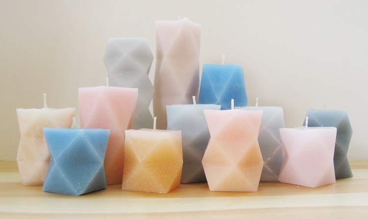 Geometrically moulded candles