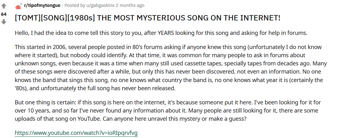 reddit post by user gabgaskins about search for a mysterious song