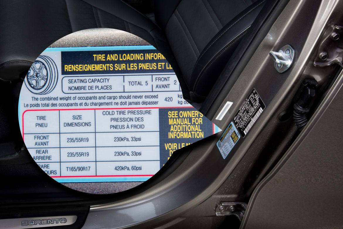Recommended tire size and pressure sticker on a Kia Sorento